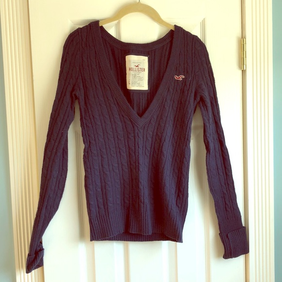 Hollister Sweaters - Navy blue knit sweater